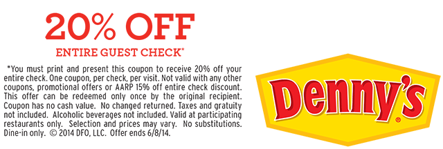 DENNYS CLOTHING COUPON
