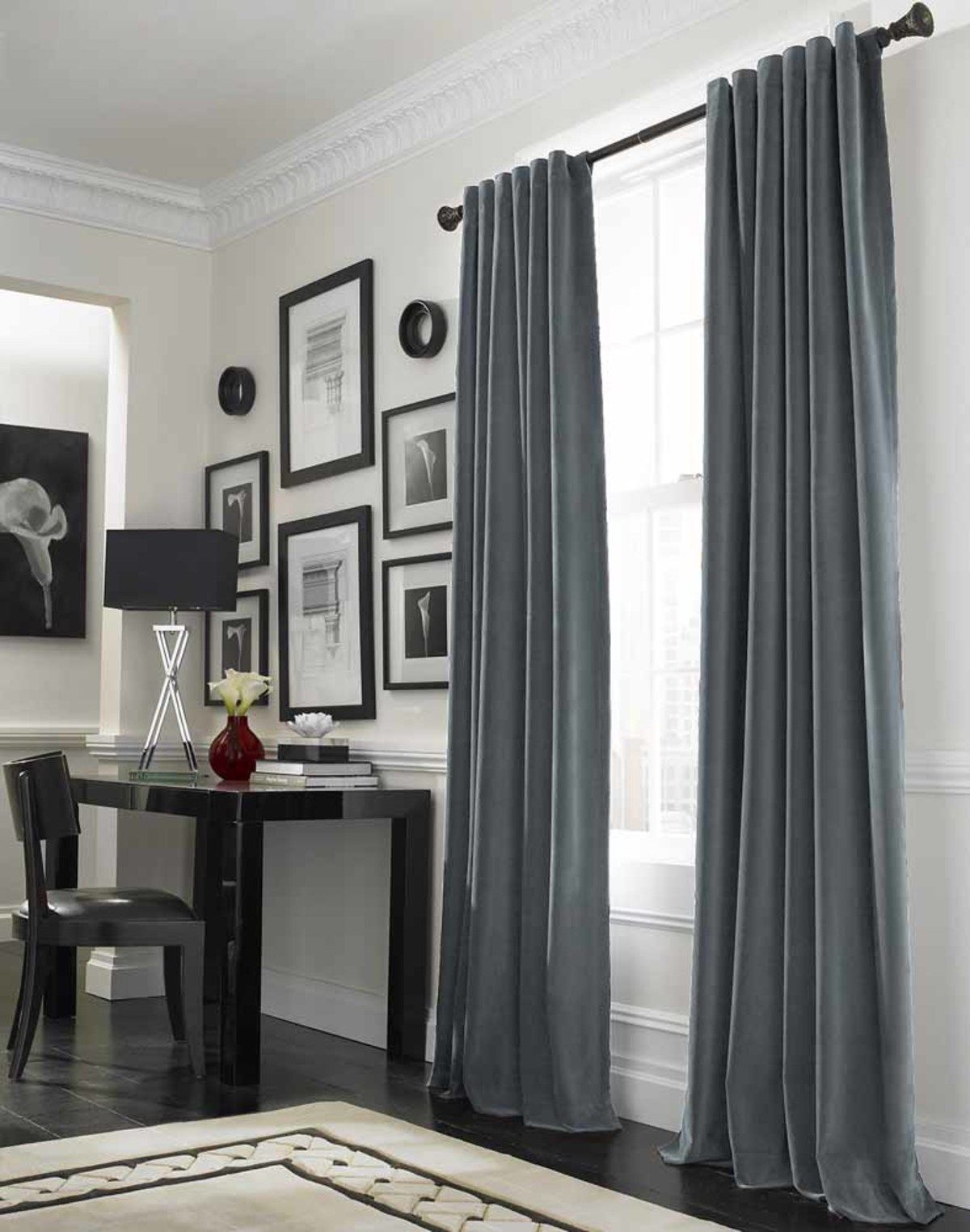 Interior designs stunning curtain ideas for large window design with beautiful grey curtains and cool brown wood study desk plus wonderful black drum desk