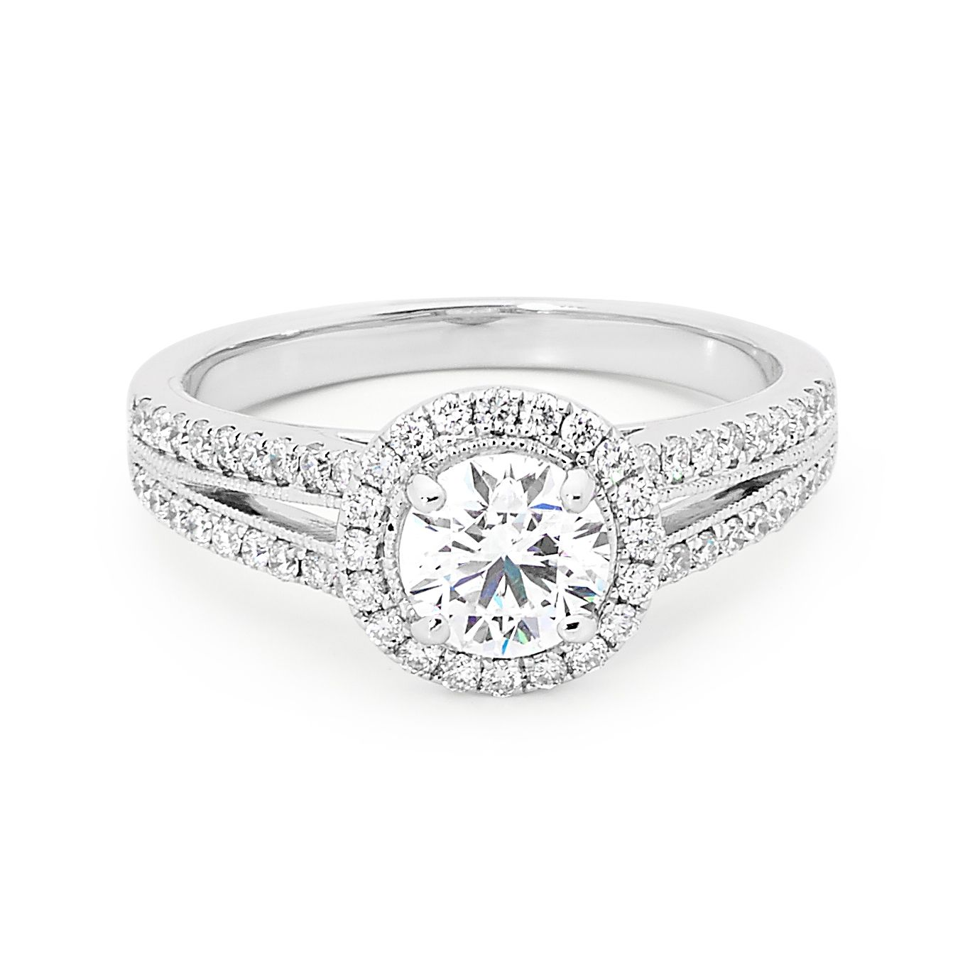 895517fdf Round brilliant cut halo diamond engagement ring with split diamond  shoulders. #love #style #white #diamond #ring #gold #jewellery  #diamondsinternational ...