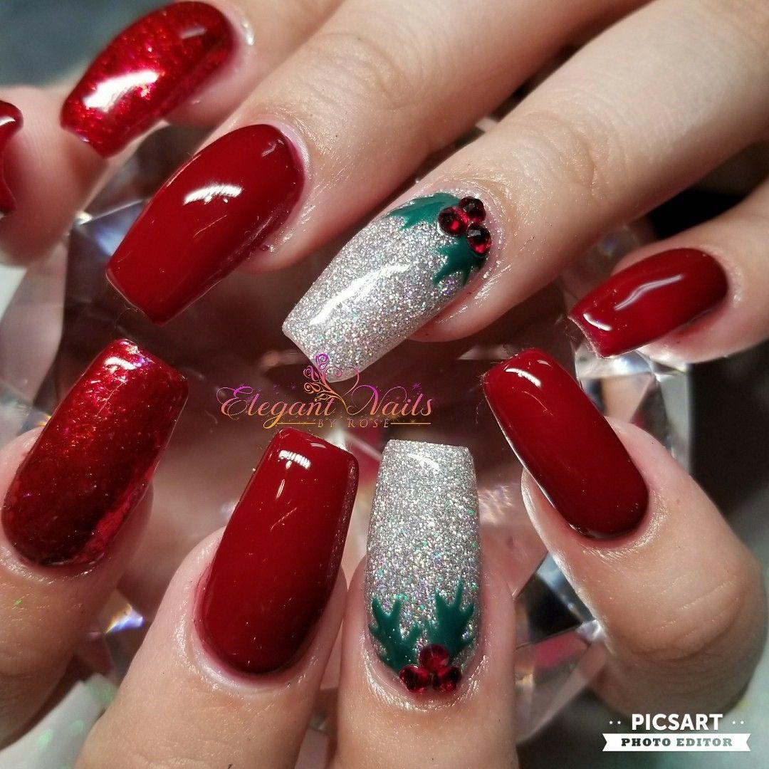Red Glitter Christmas Nail Art Sculpted Nails Christmas Nail Designs Xmas Nail Designs Xmas Nail Art