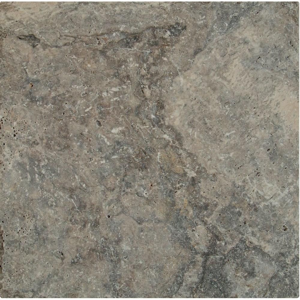 Msi Silver 16 In X 16 In Tumbled Travertine Paver Tile 20 Pieces 35 6 Sq Ft Pallet Gray Paver Tiles Travertine Pavers Travertine