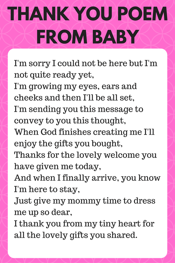 Thank You Poem From Baby Cutest Baby Shower Ideas Baby