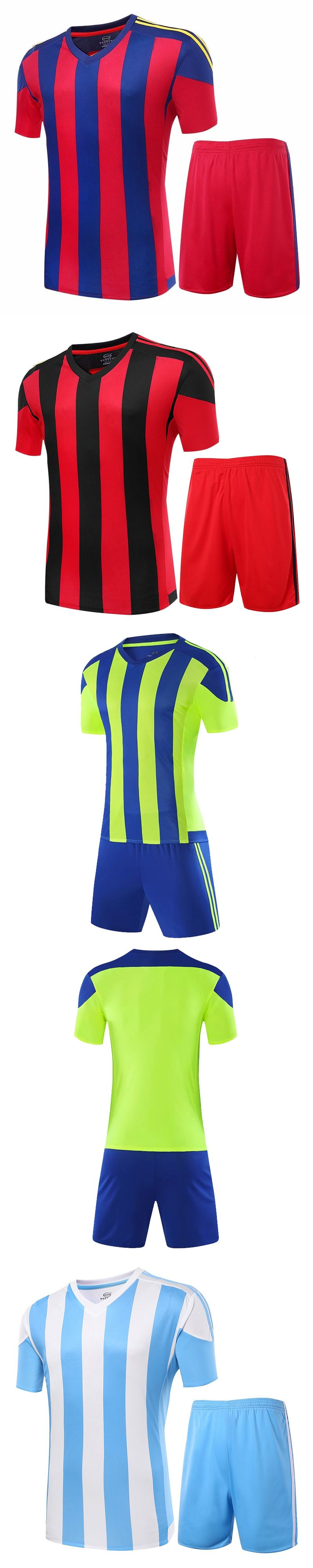 2016 17 Men s Soccer Jerseys Striped Blank Training Set Uniform Plain  Football Suits Can Customize Logo d6ee31643