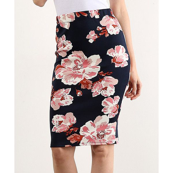 LARA Fashion Navy Floral Pencil Skirt (€12) ❤ liked on Polyvore ...