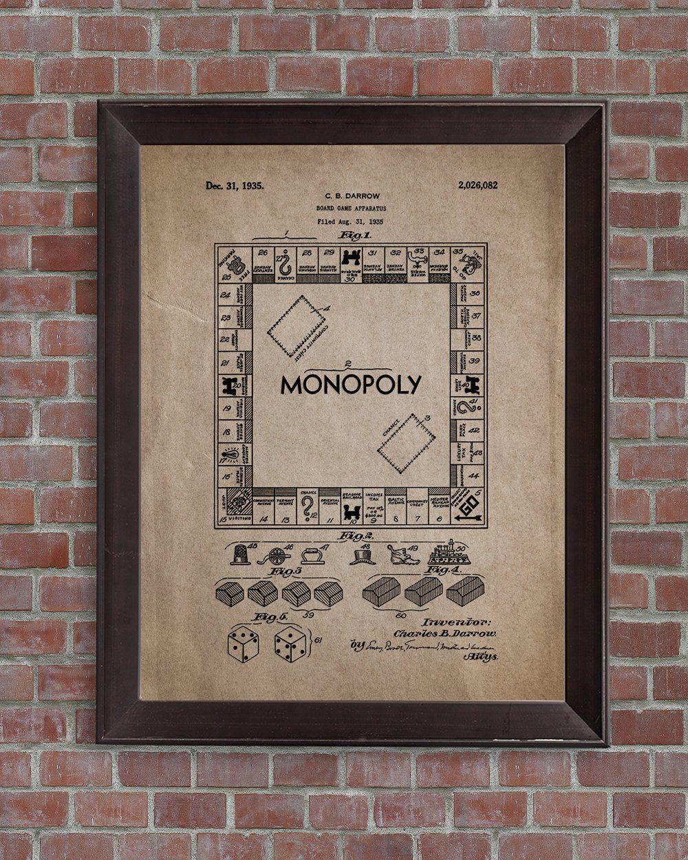 Monopoly patent print,1935.Vintage Board Game, Monopoly