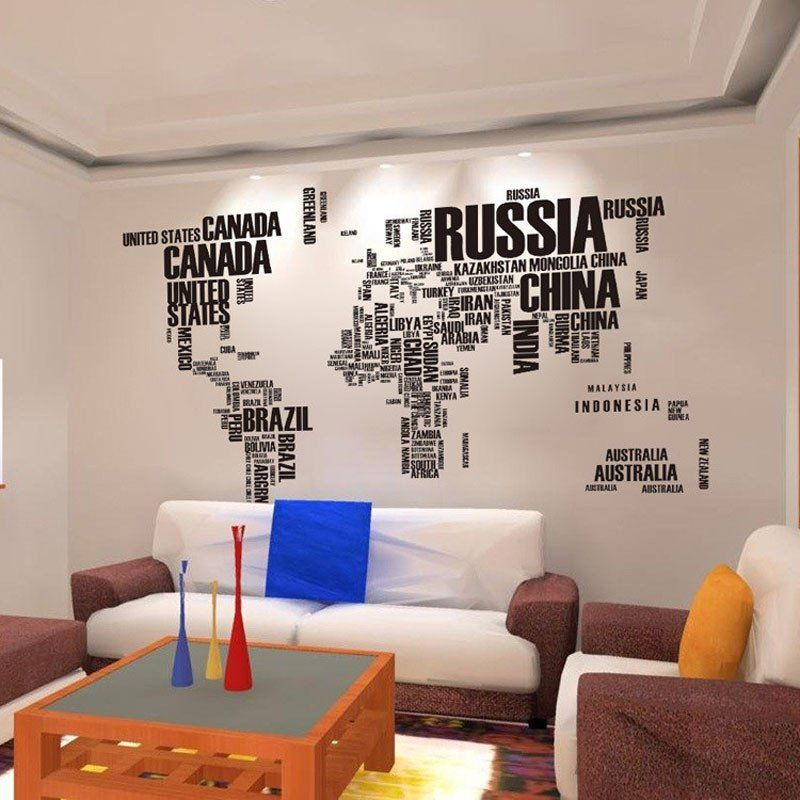 World map country names decal black world map quote removable vinyl art decals world map mural living room office decoration gumiabroncs Gallery