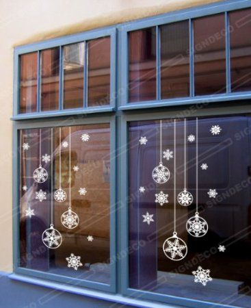 Christmas Balls Various Snowflakes Wall Window Display Decoration Sticker Decal (1 set): Amazon.co.uk: Kitchen & Home
