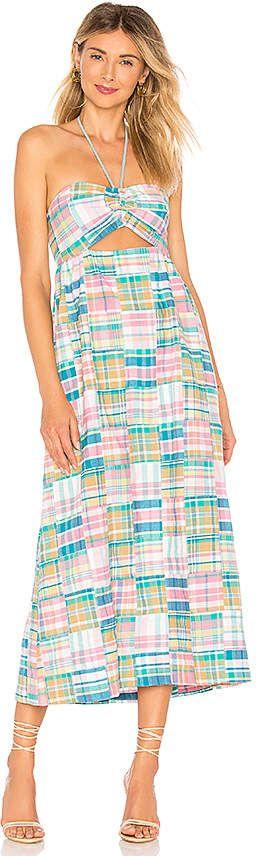 Petersyn Athena Midi Dress Pink and blue halter dress # ...