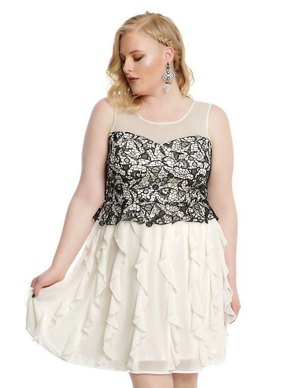d472292c32fb5 Harry Potter Black Lace   Ivory Ruffle Gown Plus Size