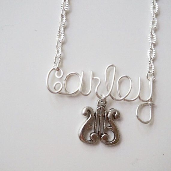 Sorority lyre name necklace by QueenCityConceptions on Etsy alpha chi