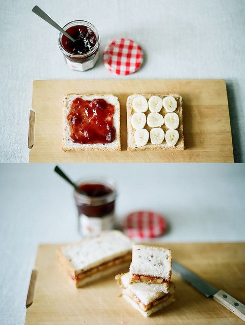 Banana, peanut butter and jam on toast,