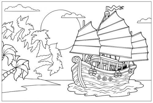 Piratenschiff Zum Ausmalen - Baldachin