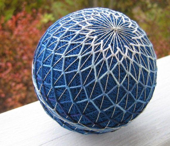 hand embroidered thread ball - japanese temari