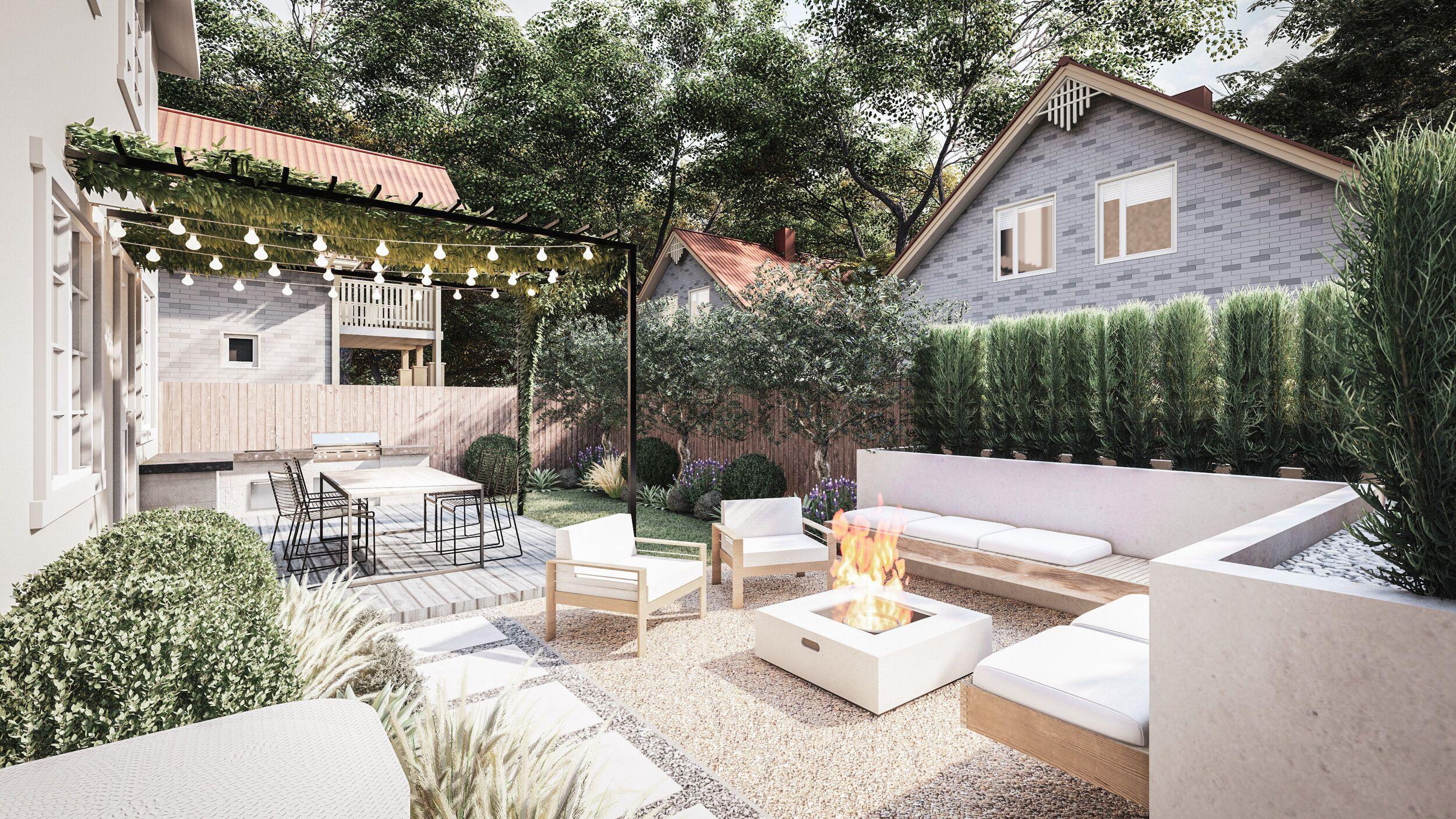 Examples Of Yardzen Designs Yardzen Online Landscape Design In 2020 Online Landscape Design Backyard Landscape Design