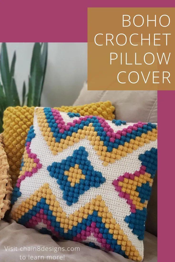 Boho Vibes Crochet Pillow Cover | Chain 8 Designs