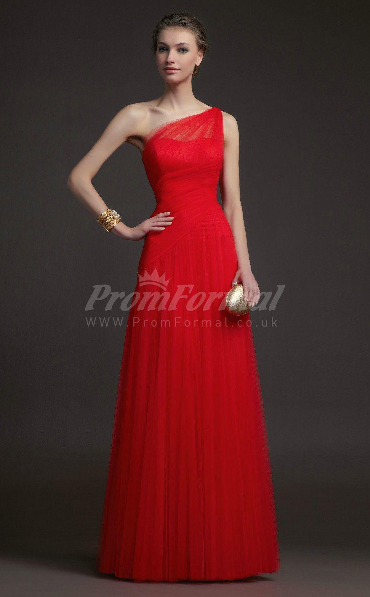 Beautiful red one shoulder tulle floorlength prom dressesprjt