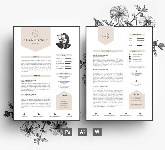 Modern template/ Business car/CV template/Cover letter/editable PSD