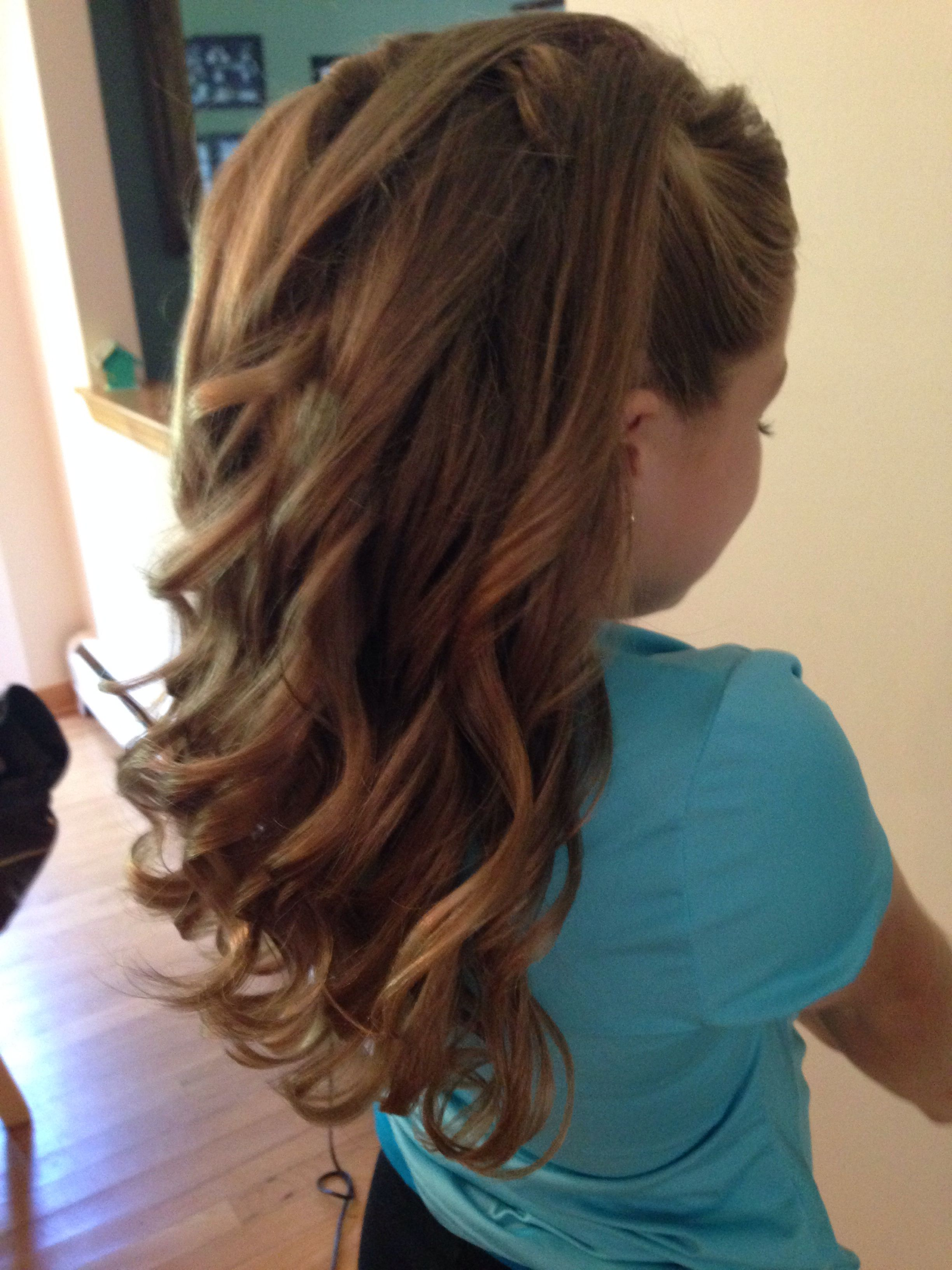 half-up half-down curls/junior bridesmaid | hairstyles