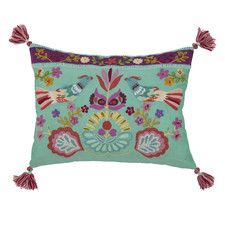Singing Birds Embroidered Boudoir/Breakfast Pillow