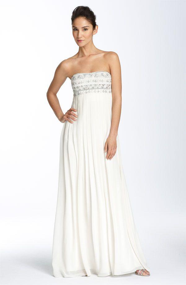 Aidan Mattox Niteline Strapless Beaded Silk Chiffon Gown, cheap ...