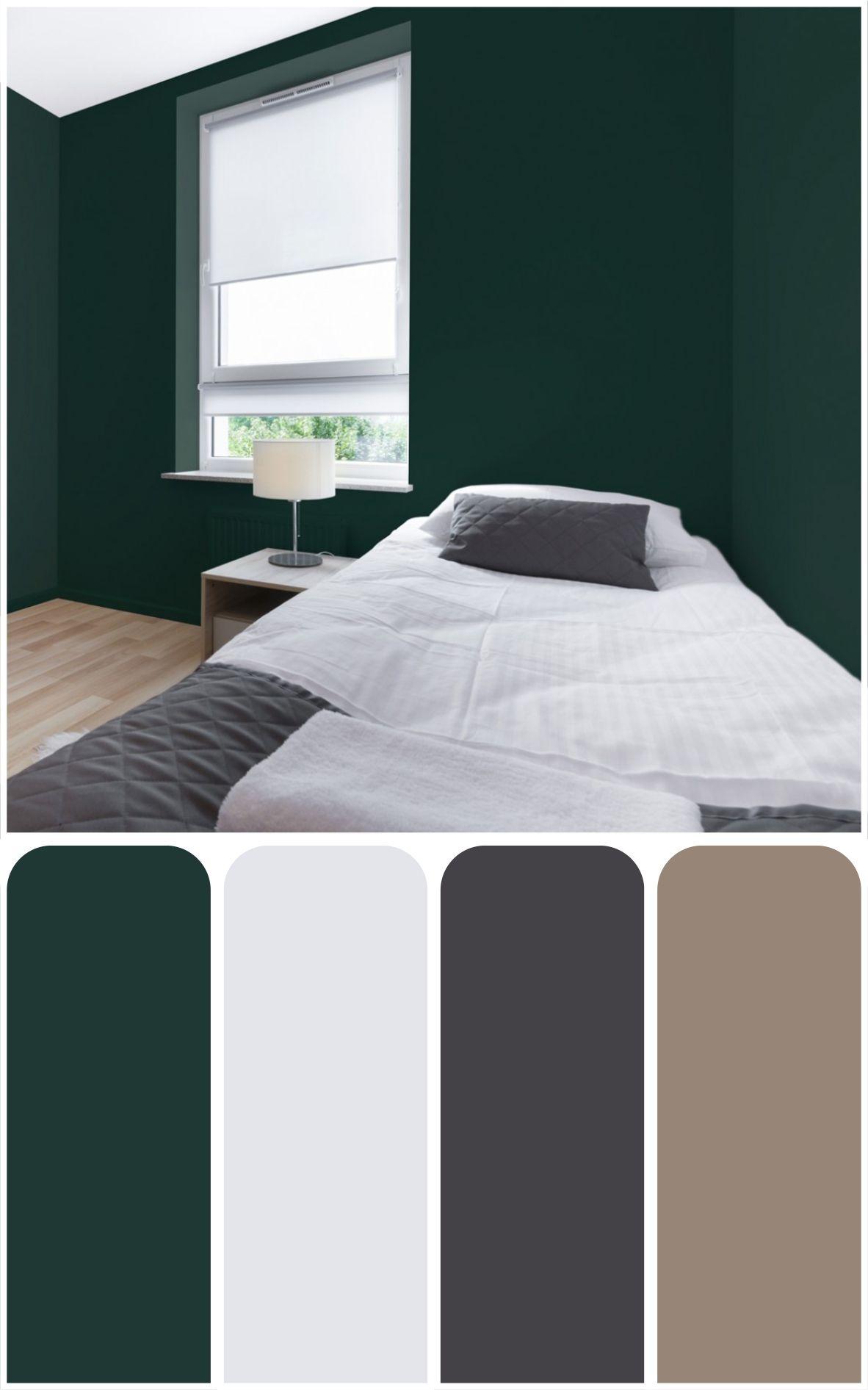 Bedroom Colour Ideas With Dark Green Wall Bedroomcolors Bedroomcolorschemes Bedroomcolorideas Green Bedroom Colors Green Bedroom Walls Green Master Bedroom