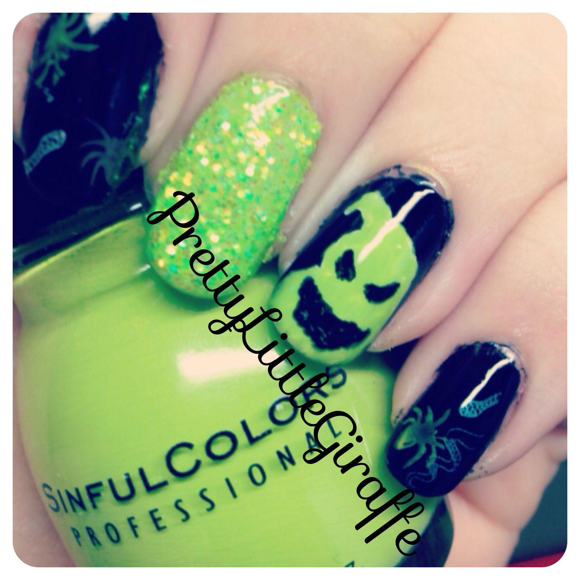 nightmare before christmas oogie boogie halloween nail art