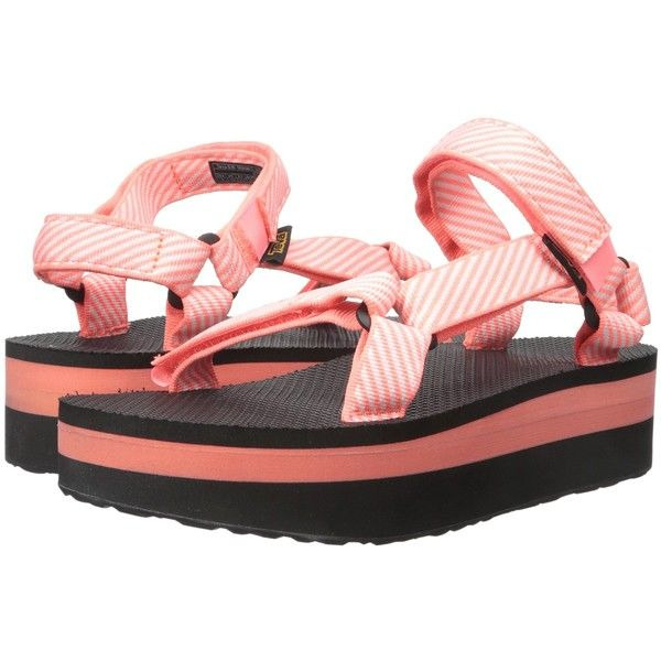 9ba2be43b1e Teva Flatform Universal (Candy Stripe Coral) Women s Sandals ( 25) ❤ liked  on Polyvore featuring shoes