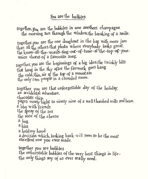 You Are The Bubbles Poem - Adorable!
