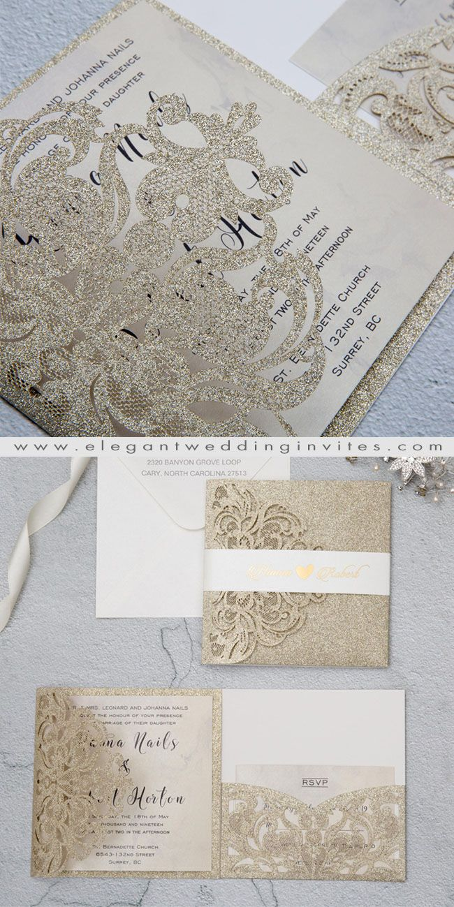 luxury champagne gold glitter tri-fold laser cut pocket wedding ...