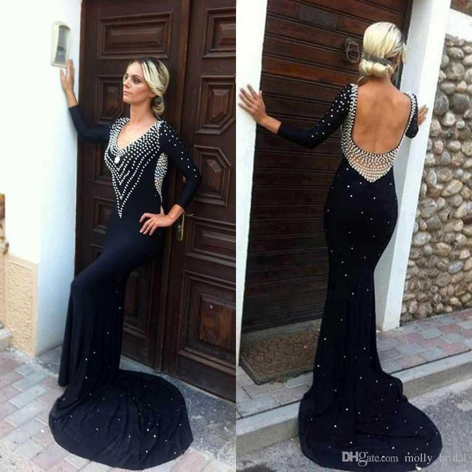 black sexy backless mermaid evening dresses with long sleeve