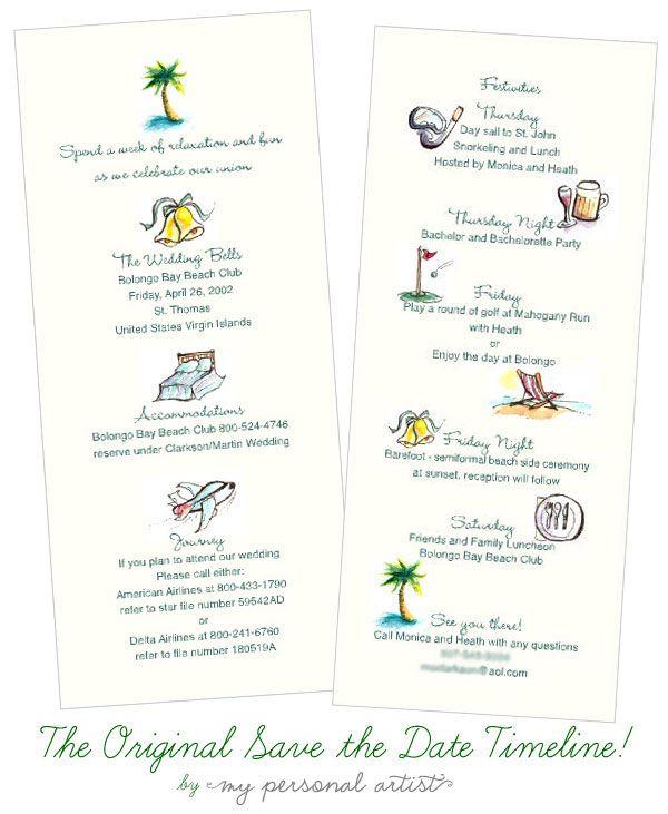 Wedding Invitation Timeline: Beachy + Adorable. Destination Wedding Save The Date