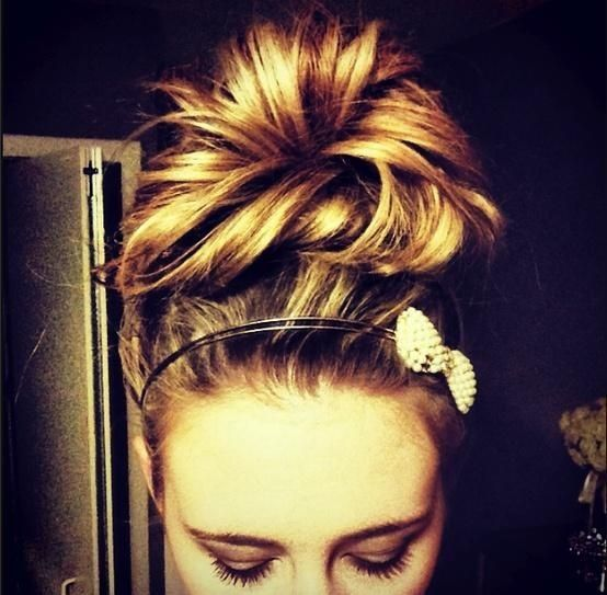 Messy Bun With Bow. I Love Big Messy Buns, On The Top Of