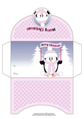 Merry Christmas Penguin Money Wallet on Craftsuprint designed by Janet Roberts - Christmas money wallet or gift voucher holder featuring one of my cute penguin characters. There is also a topper in this range.See link below - Now available for download!