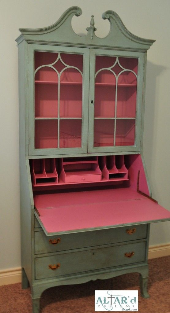 paint the inside of an old secretary s desk for a nice on desk color ideas id=80961