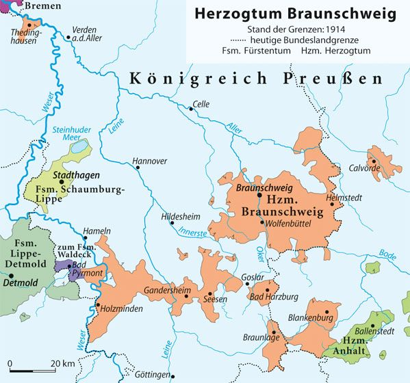Bad Braunschweig map of duchy of braunschweig 1914 with basically light blue prussia