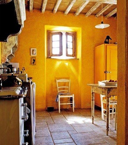 Parede Amarela Na Cozinha Italian CottageItalian Country DecorRustic
