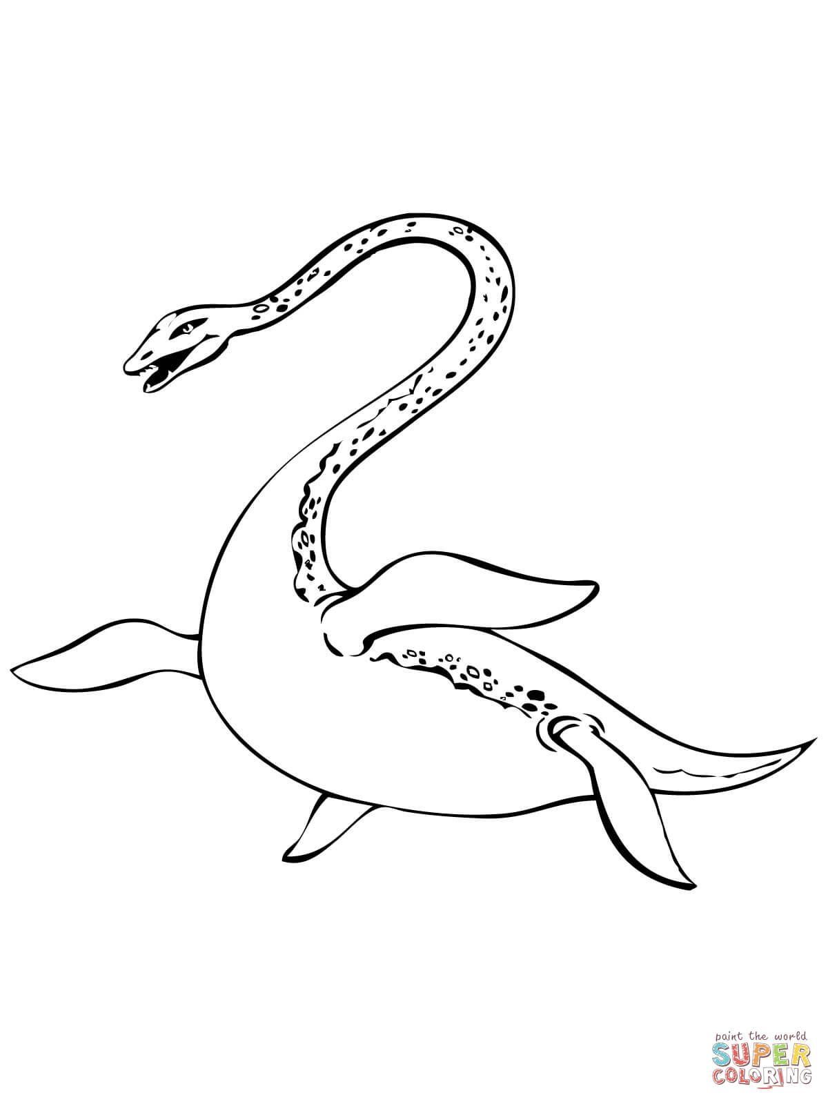 Nessie Loch Ness Lake Monster Coloring Page Free Printable