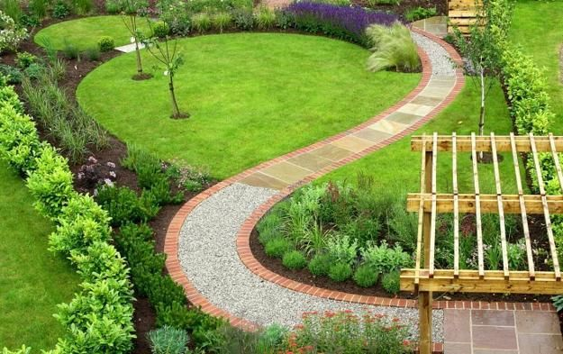 25 yard landscaping ideas curvy garden path designs to for Feng shui garden layout