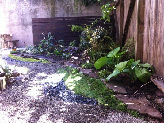 Small Mission yard with mixed medium pathway and modern redwood fence stained black | Yelp