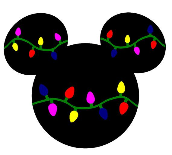 Svg Dxf File For Mickey Mouse With Christmas Lights Disney Svg