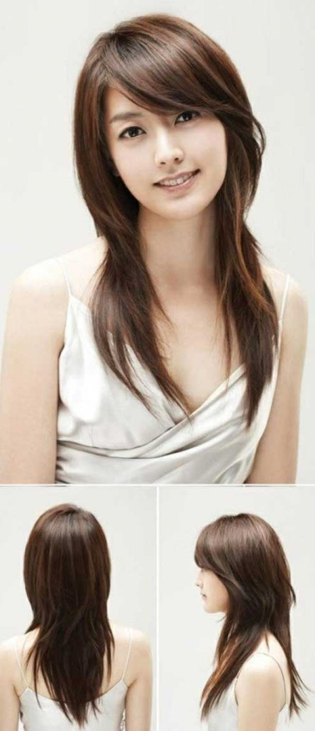 Asian Straight Layered Hair With Side Bangs