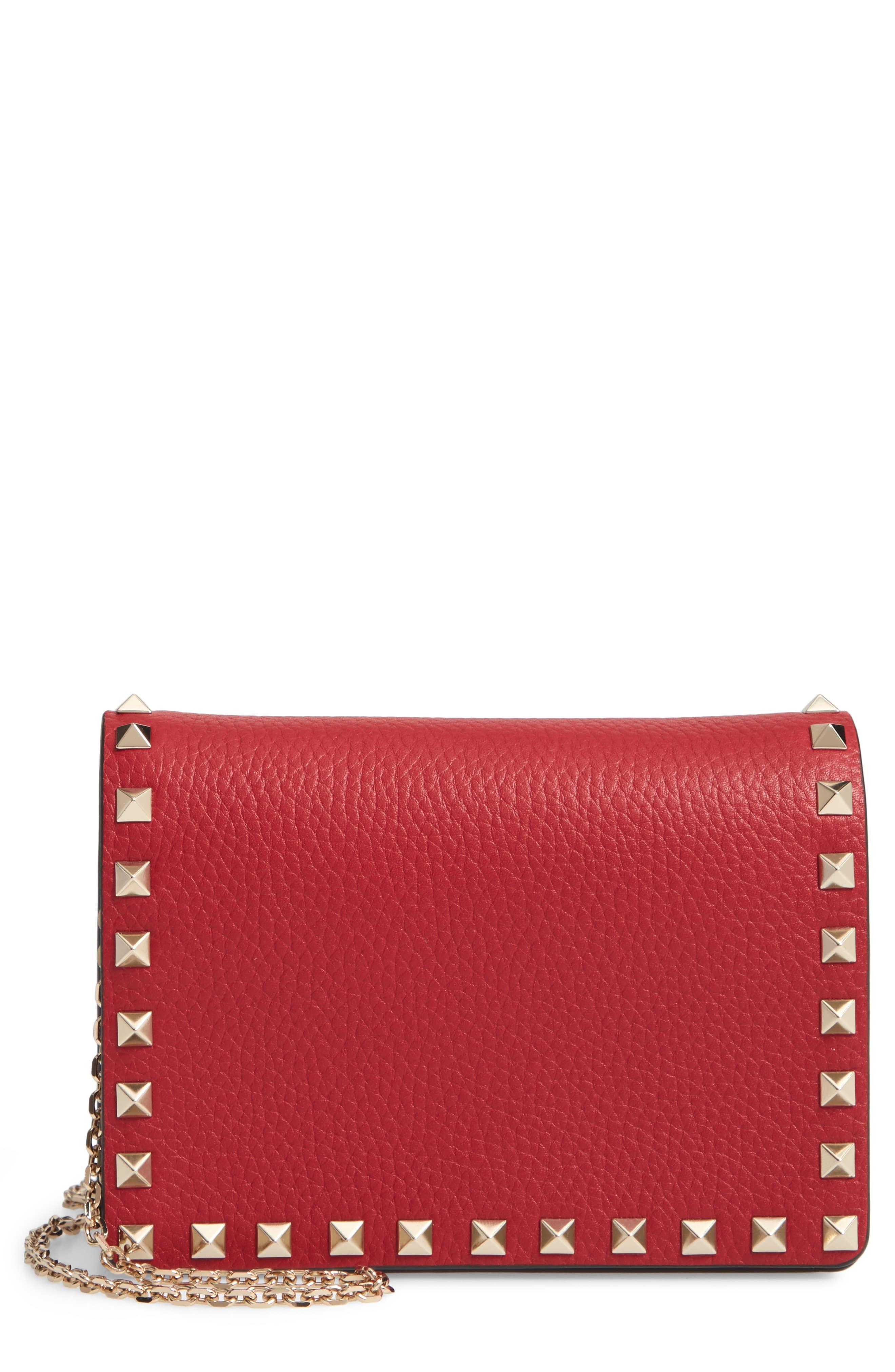 bce7199997eb8 Women's Valentino Garavani Rockstud Leather Pouch Wallet On A Chain - Red