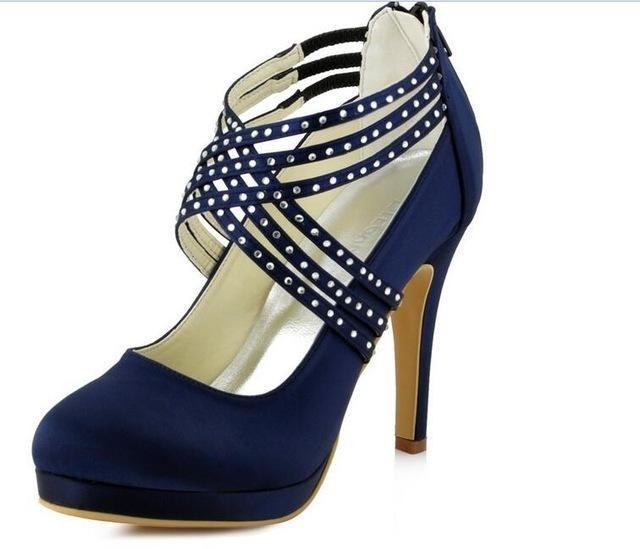 ad83221fd1 Women High Heel Shoes Platform Navy Blue Cross Strap Rhinestones ...