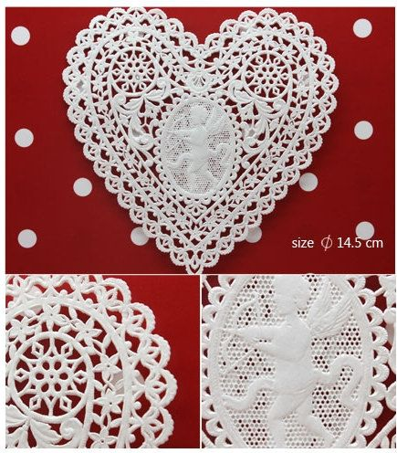 30 Sheets Unique Lace Heart With Angel Paper Doilies Craft 670