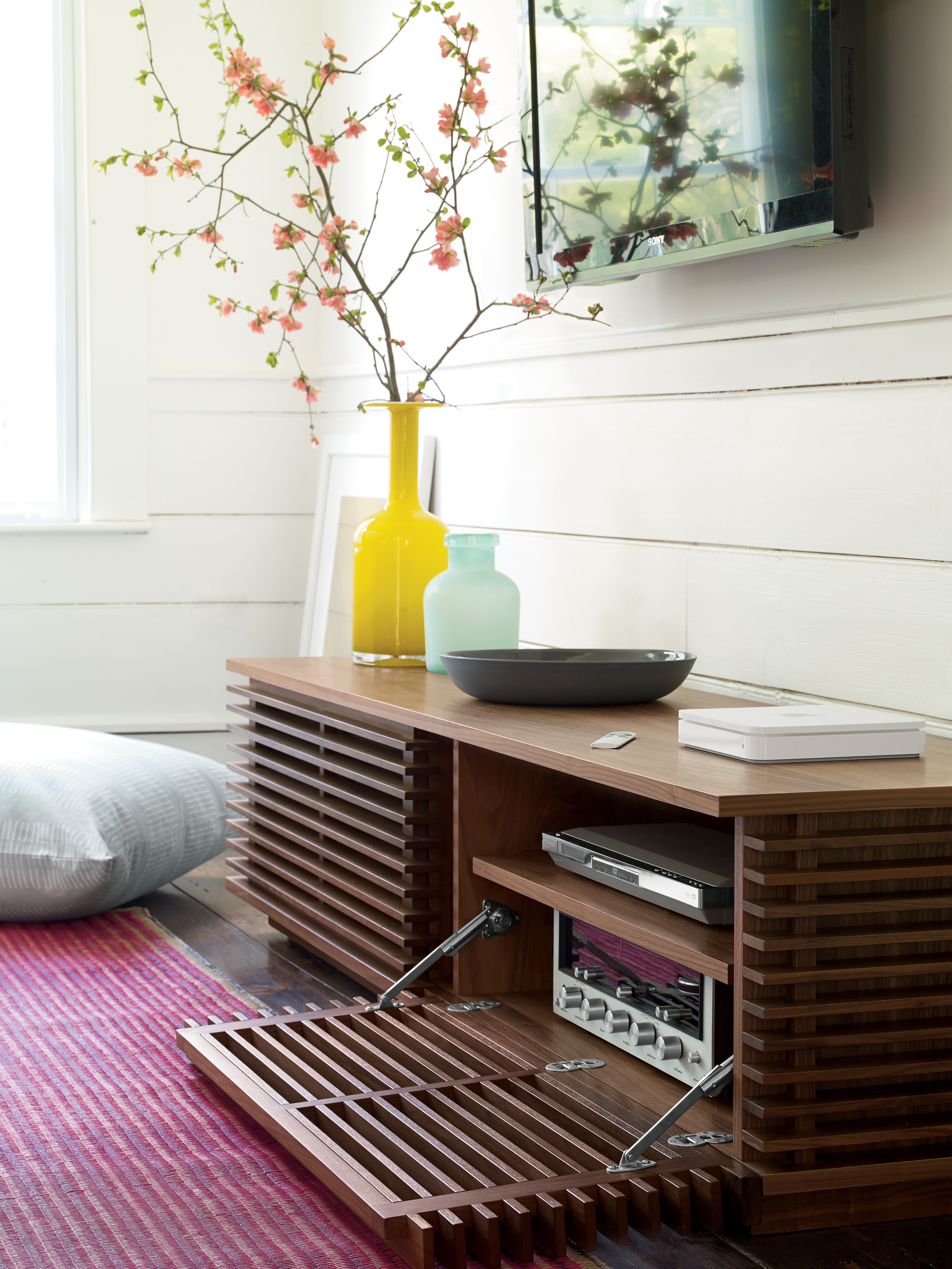 Shop the Line Media Console 70 by Nathan Yong  an elegant modern media  cabinet with a louvered exterior  allowing a remote control to operate  components. Looking for media storage  We have solutions for every modern home