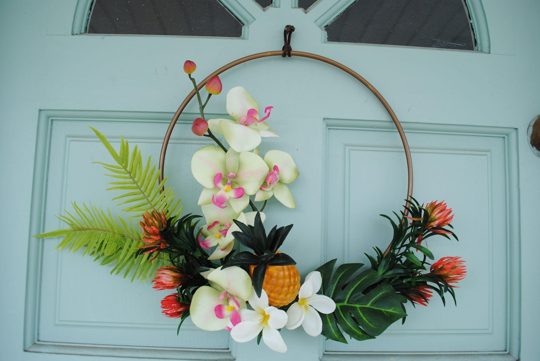 Photo of Tropical wreath, Hawaiian wreath, tire wreath, pineapple wreath, summer wreath, orchid wreath, plumeria, monstera, tropical tire wreath