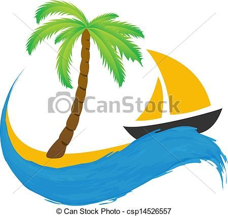 Vector - Sailing boat and palm on the water - stock illustration, royalty free illustrations, stock clip art icon, stock clipart icons, logo, line art, EPS picture, pictures, graphic, graphics, drawing, drawings, vector image, artwork, EPS vector art