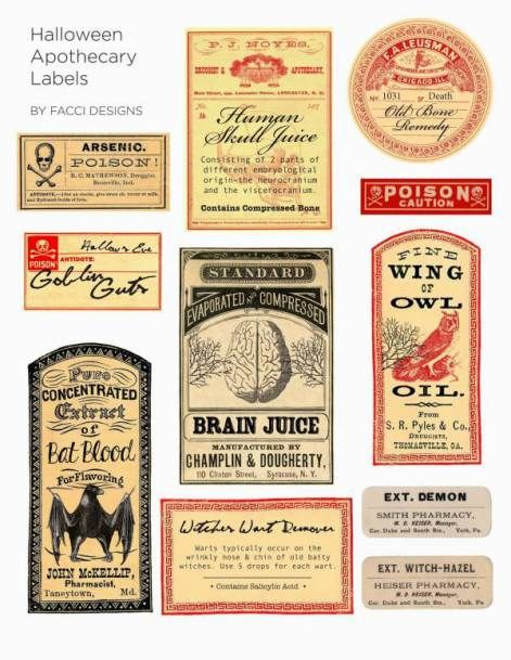 Surviving Halloween apothecary labels stickers 2 sizes scrapbooking crafts