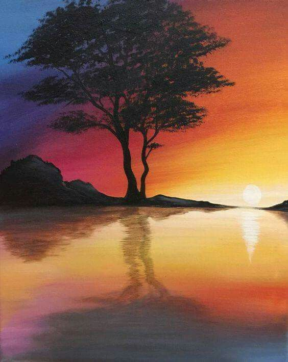 Easy Paintings Acrylic Sunset Painting Canvas Spray Paint Party Scenery Drawing Cool Simple Drawings