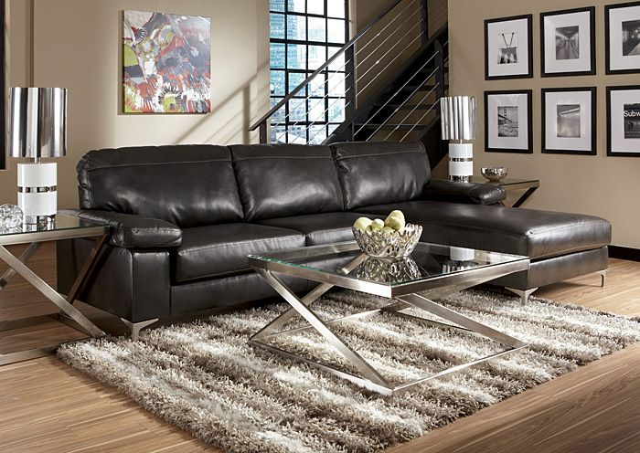 Jerusalem Furniture | Philadelphia, PA | Furnish 123 Elgan DuraBlend  Charcoal Chaise Sectional Furniture Outlet